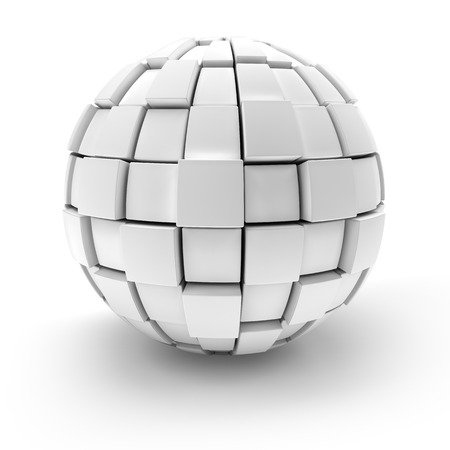 Blank sphere formed by blocks, 3d render, white background Stock Photo