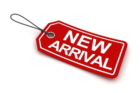 arrivals: New arrival tag, 3d render, white background