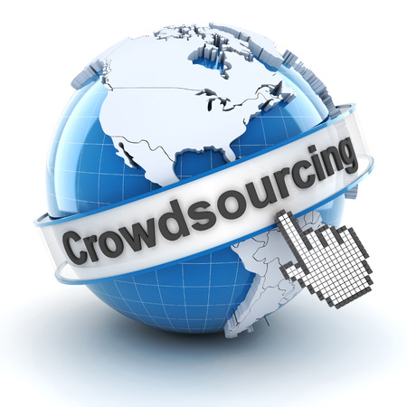 crowd sourcing: Crowdsourcing symbol with globe and cursor, 3d render, white background