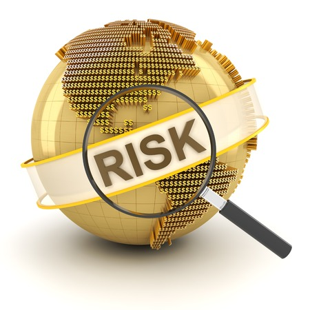 outlook: Analyzing global financial risk, 3d render, white background