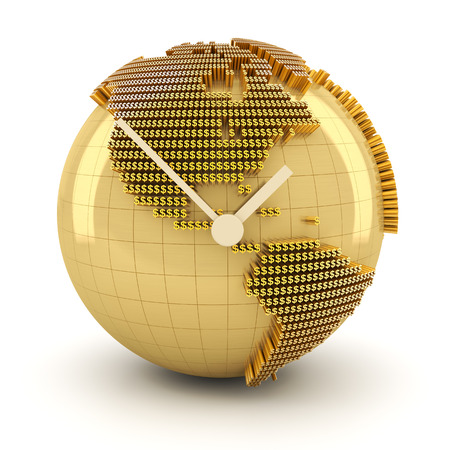 timing the market: Time for global investment, 3d render, white background