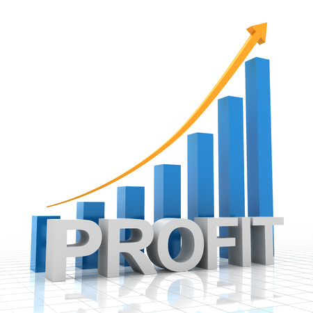 Profit growth chart, 3d render, white background Фото со стока