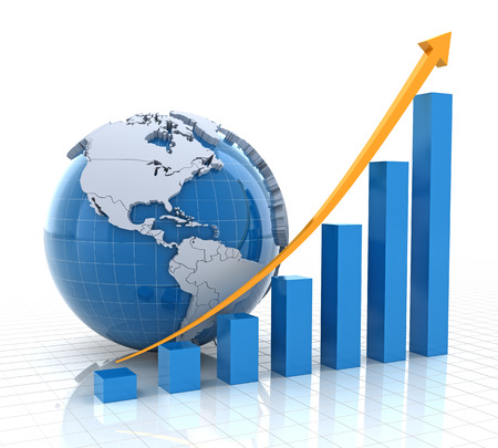 Growth chart with globe, 3d render, white background Stock Photo