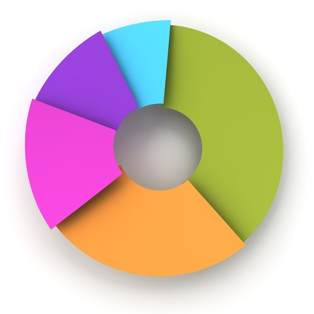 inforgraphic: Colorful paper pie chart, 3d render, white background Stock Photo