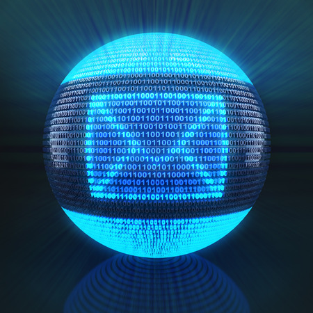 webmail: Email symbol on globe formed by binary code, 3d render