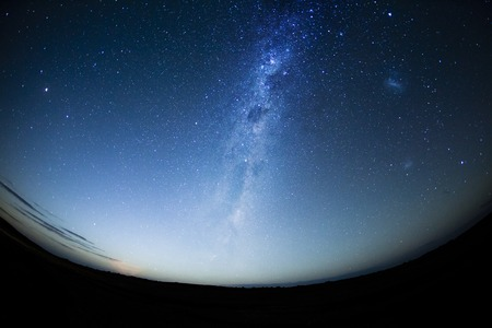 hemisphere: Night sky in the Southern hemisphere with milkway at moonrise Stock Photo