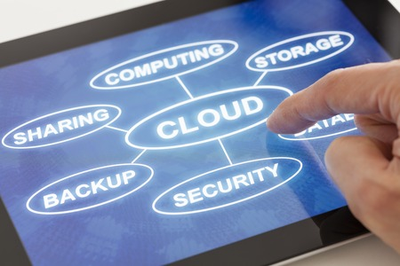 cloud storage: Clicking on a tablet with words related to cloud technology