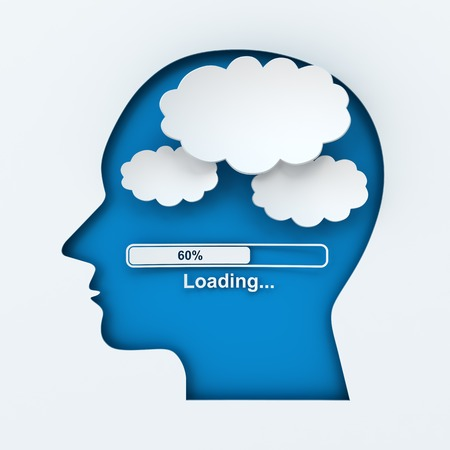 Human head with loading bar and thought bubbles with copyspace, 3d render, white background photo