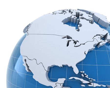 usa map: Globe, close-up on USA and Canada, 3d render