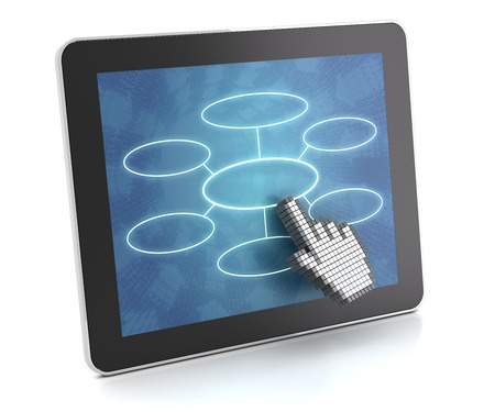 Clicking on a tablet with flow chart, 3d render, white background photo