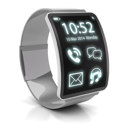 Smartwatch, 3d render, white background. This is my own 3d design.