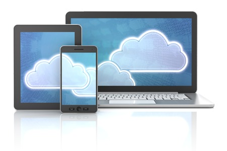 storage device: Cloud symbols on gadgets, including tablet, smartphone and computer, 3d render, white background Stock Photo