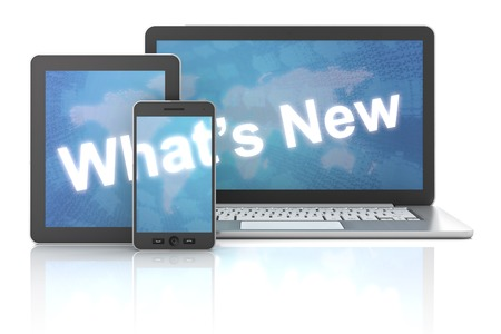 Whats new on laptop,tablet and smartphone, 3d render, white background
