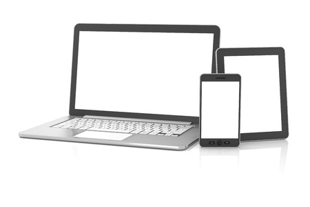 Gadgets including smartphone, smartwatch, tablet and laptop, blank screens with copyspace, 3d render