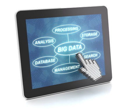 Clicking on a tablet with words related to Big data technology, 3d render photo