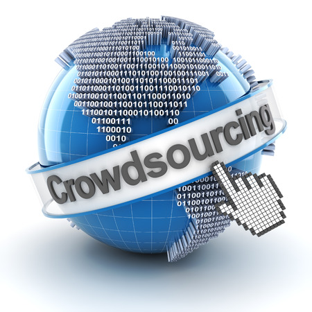 crowdsourcing: Crowdsourcing symbol with globe and cursor, 3d render, white background