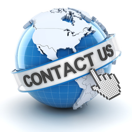 Contact us symbol with globe, 3d render, white background photo