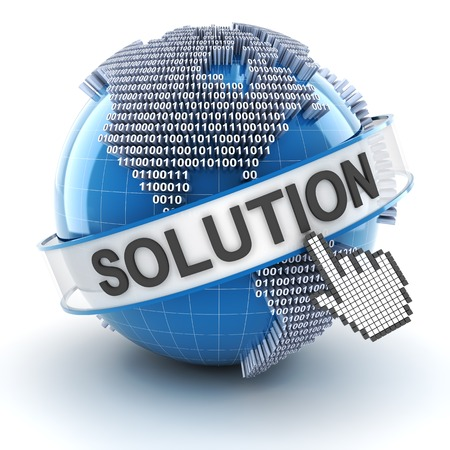 it background: IT solution symbol with digital globe, 3d render, white background