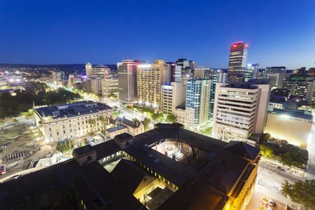 Adelaide, Australia - January 15, 2015: View of downtown Adelaide at night. Adelaide is the capital city of South Australia and the fifth largest city in Australia