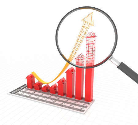 housing prices: Bar graph representing future real estate trends, 3d render
