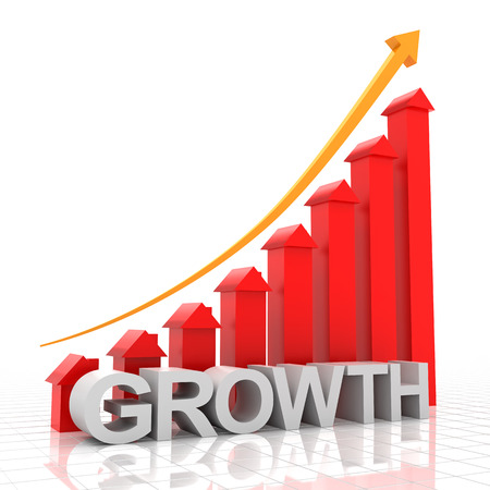 real estate growth: Real estate growth chart, 3d render, white background