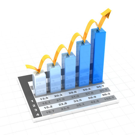 Growth chart with data, 3d render, white background photo