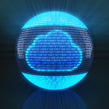 Cloud symbol on globe formed by binary code, 3d render photo