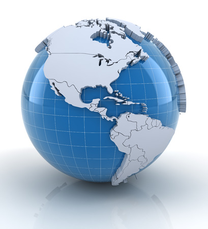 Globe with extruded continents and national borders, north and south america regions
