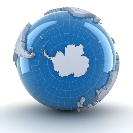 Globe with Antarctica, 3d render, white background