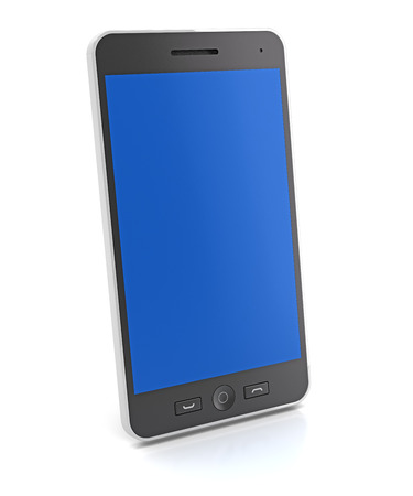 tilt: Generic slim smartphone, 3d render, white background Stock Photo