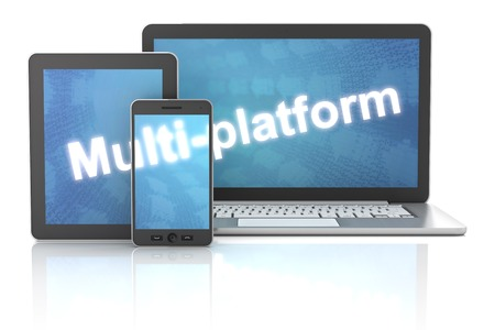 Smartphone, tablet and laptop with multi-platform word, 3d render, white background