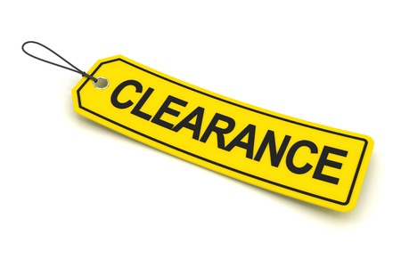 clearance: Yellow clearance tag, 3d render, white background