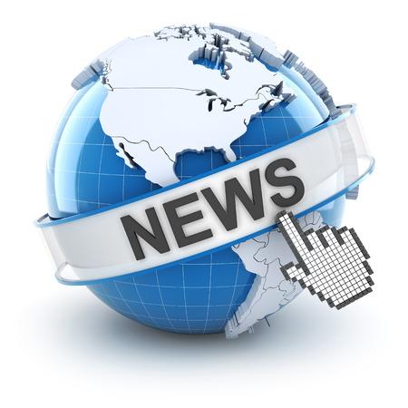 World news symbol, 3d render, white background photo