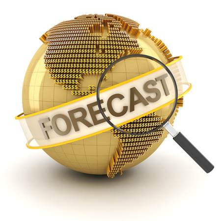 Global financial forecast symbol with globe, 3d render, white background Stock Photo
