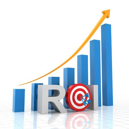 returning: Target return on investment, 3d render, white background Stock Photo