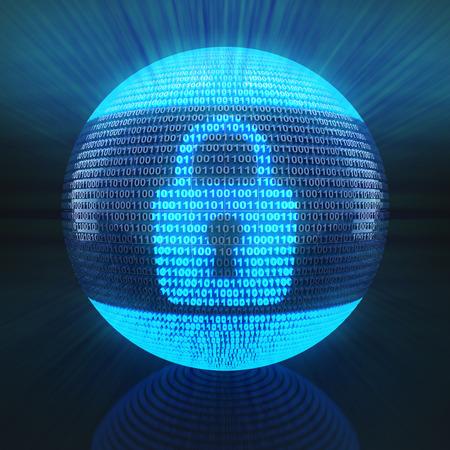 codigo binario: Bloquear símbolo en el globo formado por el código binario, 3d Foto de archivo