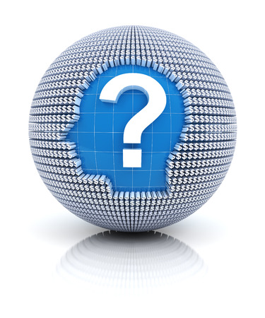 financial questions: Financial questions icon on globe formed by dollar sign, 3d render