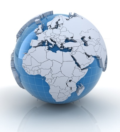 extruded: Globe with extruded continents and national borders, Europe and Africa region Stock Photo