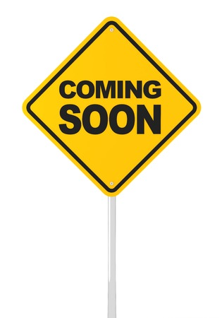 coming soon: Coming soon road sign, 3d render, white background