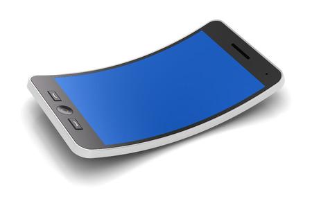 flexible: Generic flexible smartphone, 3d render, white background