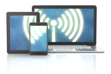 Smartphone, tablet and laptop wireless connection, 3d render, white background