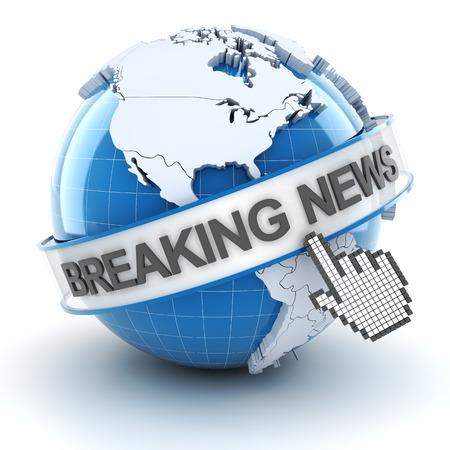 Breaking news symbol, 3d render, white background photo
