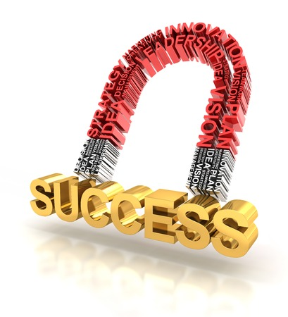 attracting: Magnet formed by business related words attracting success, 3d render Stock Photo