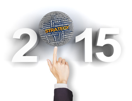 composite image: Composite image of clicking 2015 business strategy text Stock Photo