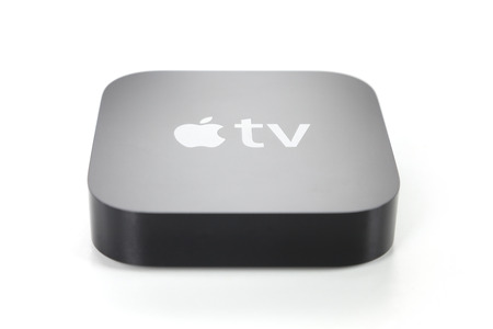 tv: Adelaide, Australia - January 27, 2015: View of a third generation Apple TV. It is a digital media player developed by Apple Inc.