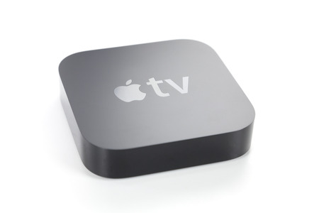 apple: Adelaide, Australia - January 27, 2015: View of a third generation Apple TV. It is a digital media player developed by Apple Inc.