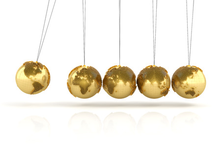 domino effect: Newtons cradle with golden globes formed by dollar signs, 3d render