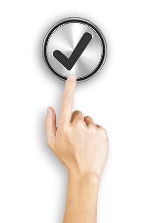 clicking: Clicking a 3d rendered tick button, white background Stock Photo