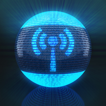 Wifi symbol on globe formed by binary code, 3d render photo