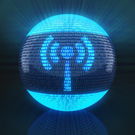 wireless hot spot: Wifi symbol on globe formed by binary code, 3d render